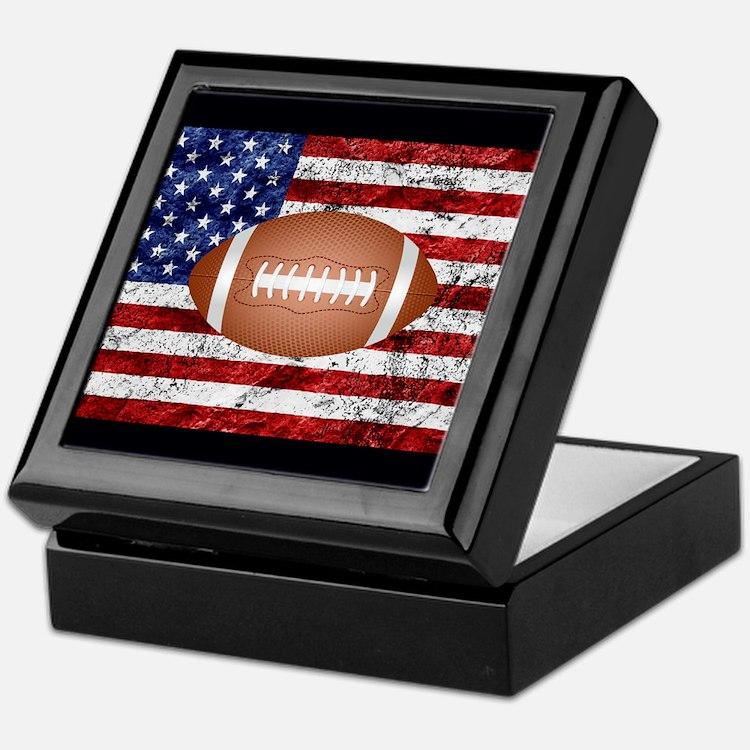 Football on american flag Keepsake Box
