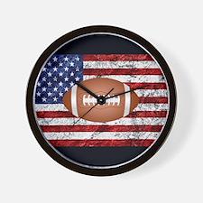 Football on american flag Wall Clock