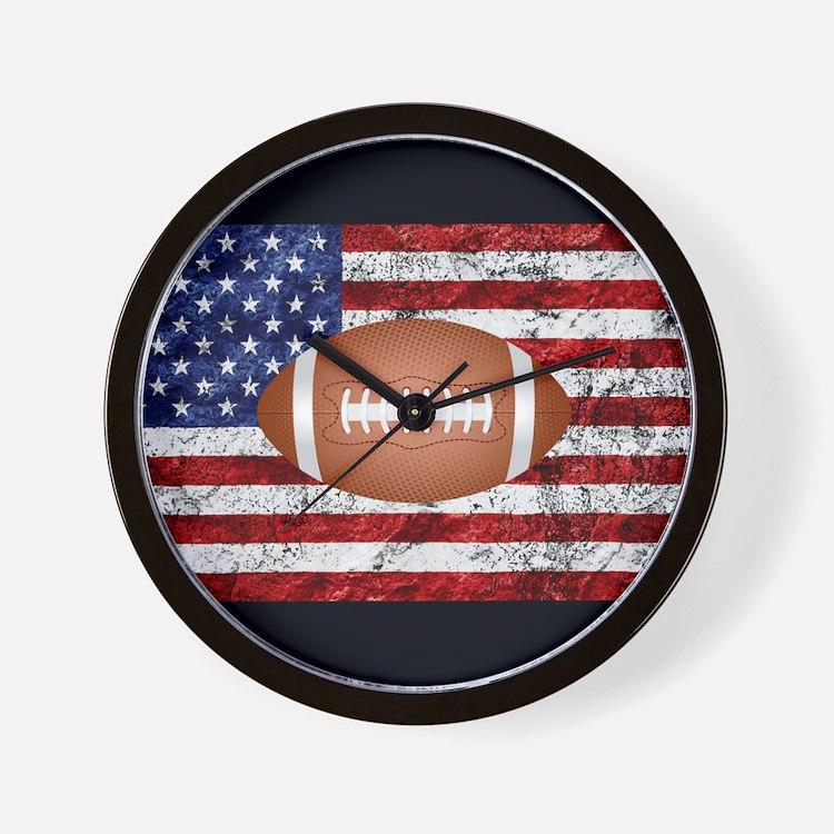 Football Design Wall Clock : American football clocks wall