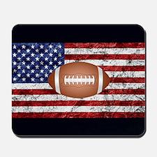 Football on american flag Mousepad