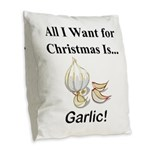 Christmas Garlic Burlap Throw Pillow
