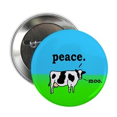 Peace Cow Moo Button (2.25 inches)