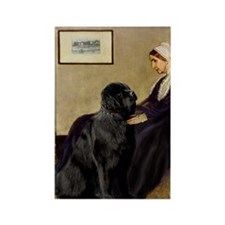 Whistler's Mother & Newfie Rectangle Magnet