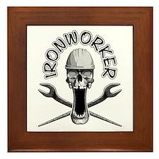 Ironworker Skull Framed Tile