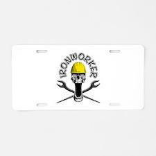Ironworker Skull 2 Aluminum License Plate