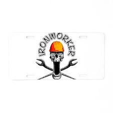 Ironworker Skull 3 Aluminum License Plate