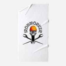 Ironworker Skull 3 Beach Towel