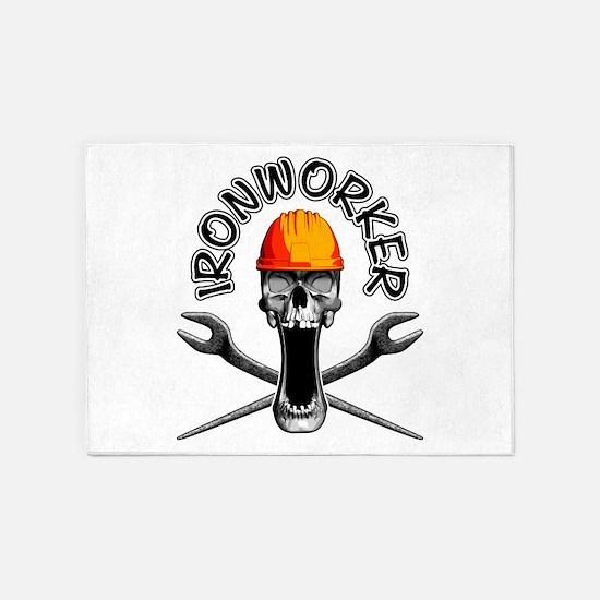 Ironworker Skull 3 5'x7'Area Rug
