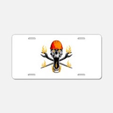 Flaming Ironworker Skull Aluminum License Plate