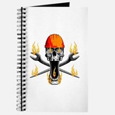 Flaming Ironworker Skull Journal