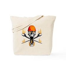 Flaming Ironworker Skull Tote Bag