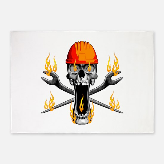 Flaming Ironworker Skull 5'x7'Area Rug