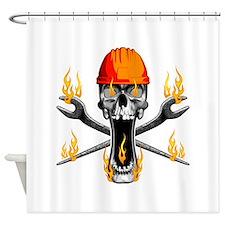 Flaming Ironworker Skull Shower Curtain