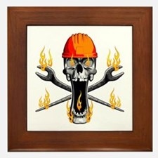 Flaming Ironworker Skull Framed Tile