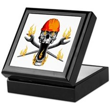 Flaming Ironworker Skull Keepsake Box