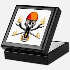 Flaming Ironworker Skull Keepsake Box