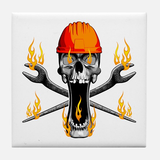 Flaming Ironworker Skull Tile Coaster