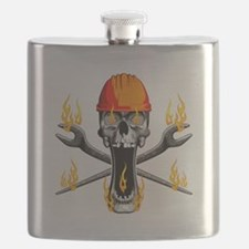 Flaming Ironworker Skull Flask