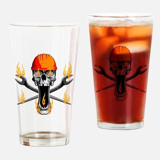 Flaming Ironworker Skull Drinking Glass