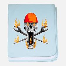 Flaming Ironworker Skull baby blanket