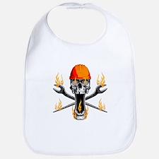 Flaming Ironworker Skull Bib
