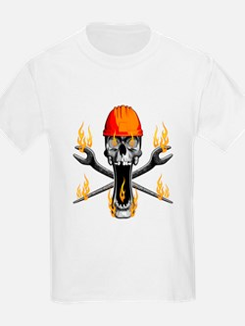 Flaming Ironworker Skull T-Shirt