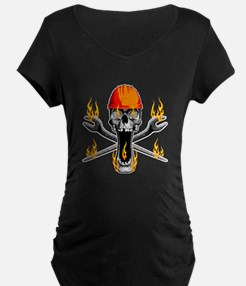 Flaming Ironworker Skull Maternity T-Shirt