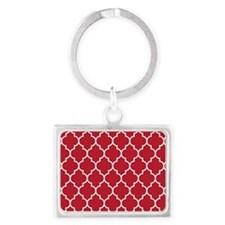 RED AND WHITE Moroccan Quatrefoil Keychains