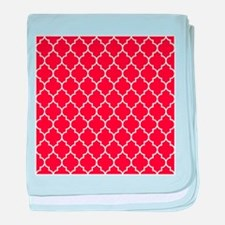 RED AND WHITE Moroccan Quatrefoil baby blanket