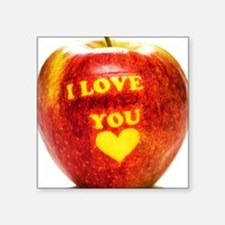 "Apple I Love You Square Sticker 3"" x 3"""
