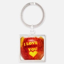 Apple I Love You Square Keychain
