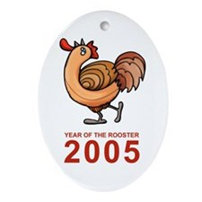 Rooster 2005 Oval Ornament