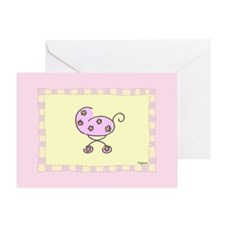 Pink Baby Buggy Greeting Card