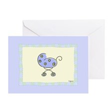 Blue Baby Buggy Greeting Card