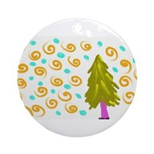 Walking Tree Snowy Ornament (Round)