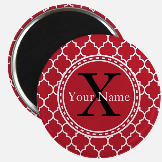Custom Name And Initial Red Quatrefoil Magnets