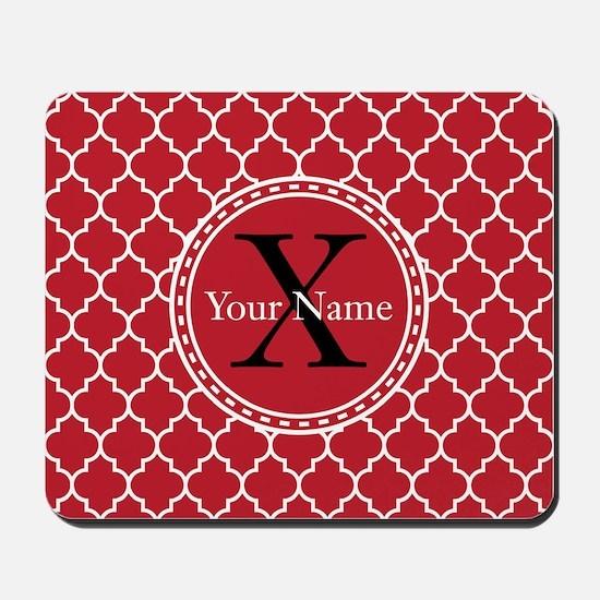 Custom Name And Initial Red Quatrefoil Mousepad