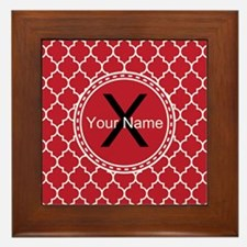 Custom Name And Initial Red Quatrefoil Framed Tile