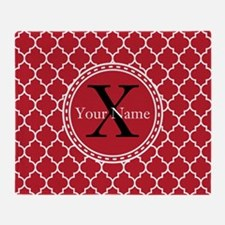 Custom Name And Initial Red Quatrefoil Throw Blank
