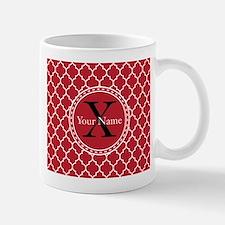 Custom Name And Initial Red Quatrefoil Mugs