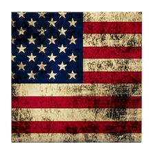 Grunge American Flag Tile Coaster