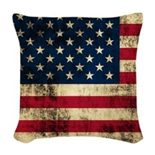 Grunge American Flag Woven Throw Pillow