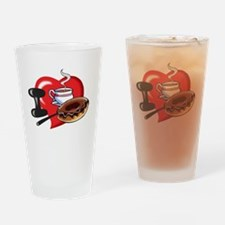 I Love Coffee and Donuts Drinking Glass