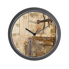 Old Door & Rusty Latch Wall Clock