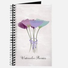 Cute Watercolor Peonies Flowers Floral Journal