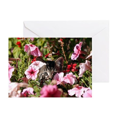 Kitten in the Flowers Greeting Cards (Pk of 10)