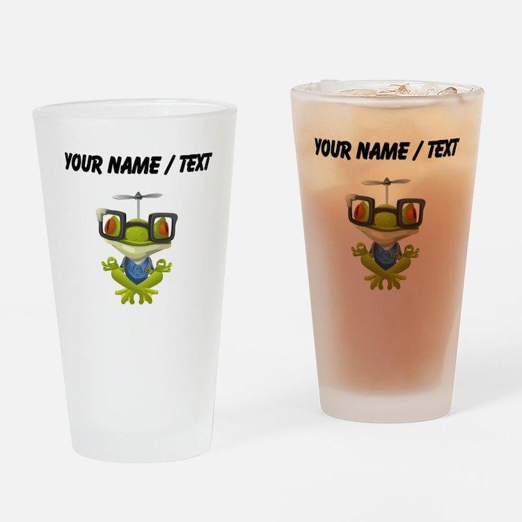 Custom Yoga Frog In Glasses Drinking Glass