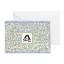 Penguin and Flowers Greeting Card