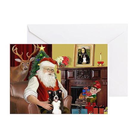 Santa's Border Collie Greeting Cards (Pk of 20)