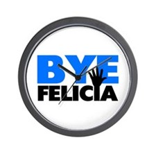 Bye Felicia Hand Wave Bold Blue Wall Clock
